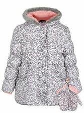 GORGEOUS GIRLS ANIMAL PRINT PADDED HOODED COAT WITH MATCHING MITTENS AGE 3-4
