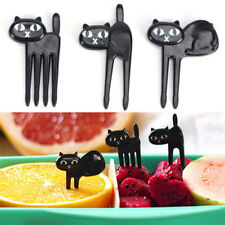 Black Cat Fruit Forks Cute Cartoon Plastic Fork Kitten Bento Decoration Label YL