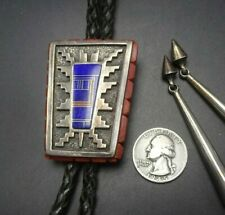 Vintage NAVAJO Heavy Sterling Silver CORAL and LAPIS Inlay BOLO Tie BOYD BECENTI