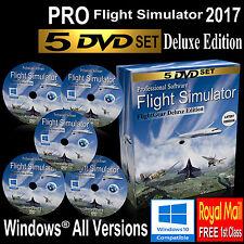 Flight Simulator 2017 DELUXE Edition X Flight Sim Windows 10 8 7 XP PC 5 DVDs