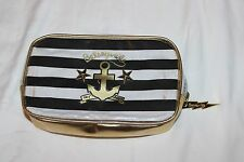 Betsey Johnson Betseyville Cosmetic Bag Anchor and Stripes Black Gold New w/o ta