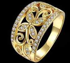 18K Gold GF Lab Diamond Band Flower Ring sz 7 stunning