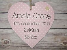Handmade 15cm Heart Wall Plaque Personalised New Baby Christening Gift Baby Girl
