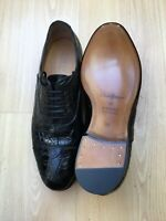 GUCCI MENS BLACK LEATHER LACE UP SHOES UK 10 44 CROCODILE GOODYEAR WELTED SCRIPT