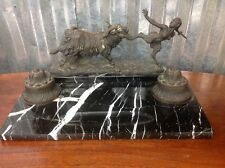 Bronze Double Inkwell With Faun and Goat Figurine Marble Base  By Maugsch Gyula