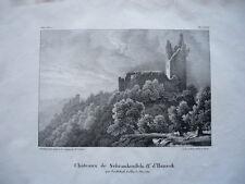 CHATEAUX  DE SCHRANKENFELS ET D'HANECK   ALSACE GRAVURE ORIGINALE 1870 HAUT RHIN