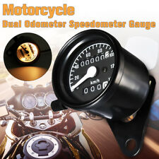 Retro Black Motorcycle Dual Odometer Speedometer Gauge Meter LED Light ! /