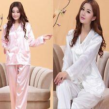 Womens Two Pieces Nightwear Lingerie Set Silk Pajamas Set Sleepwear Homewear