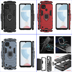 For Realme C20 C20A C21, 3in1 Shockproof Rugged Grip Ring Car Holder Case +glass