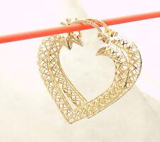 """1 1/8"""" Technibond Heart Filigree Hoop Earrings 14K Yellow Gold Clad Silver"""