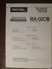 ROTEL RA-820B INTEGRATED AMP TECHNICAL SERVICE MANUAL FACTORY ORIGINAL