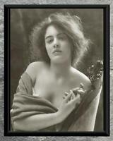Stunning... Beautiful Women , Bare Shoulders Portrait . Antique 5x7 Photo Print