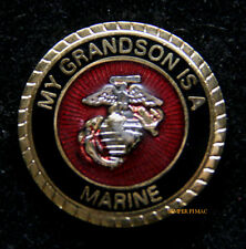 MY GRANDSON IS A US MARINE HAT PIN MARINES DAD MOM WIFE WM GRAND MA PA GIFT WIW