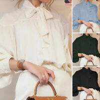 Women Plus Size High Neck Victorian Shirt Long Sleeve Top Loose Button OL Blouse
