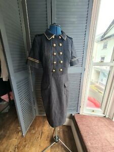 Vintage Dress, Wool, Jersey, Military,  Double Breasted, Pencil Dress. Size 10