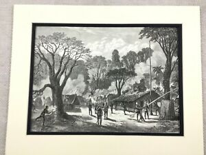 1875 Antique Print Congo Africa West African Squadron Marines Military