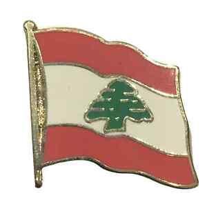 Lebanon National Flag 3/4 Gold Plated Courtesy Enamel Pin Badge