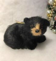 Black Sitting Bear Faux Fur Woodland Christmas Tree Ornament