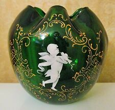 ATQ CZECH BOHEMIA MARY GREGORY EMERALD GLASS ROSE BOWL HP ENAMEL CHERUB & BIRD