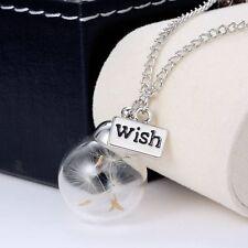 Fancy Dandelion Seeds Dried Flower Glass Bottle Wishing Pendant Necklace Charm