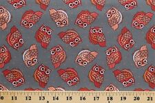 Night Owls Birds of Prey Animals Gray Cotton Fabric Print by the Yard D783.10