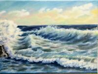 "Art, crashing waves,sunset.12""/9""oil painting, seascapebyLaura.Seascape Painting"