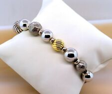 David Yurman Elements Silver & Gold Bead Balls Adjustable Bracelet 925 & 18kG