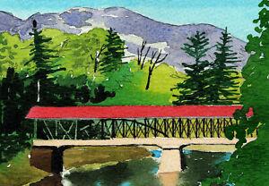 Saco River Covered Bridge, Conway NH. Colorful Peter Mason watercolor notecards
