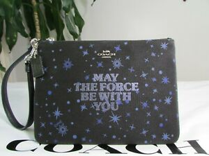NWT Star Wars X Coach Gallery Pouch With May The Force Be With You F88485 Black