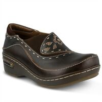 L'Artiste Burbank Women's Brown Hand Painted leather closed back clog  EUR 37