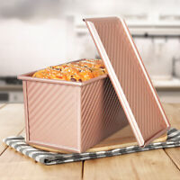 Pullman Loaf Pan with Lid Non-Stick Bakeware Bread Toast Mold Alloy Corrugated