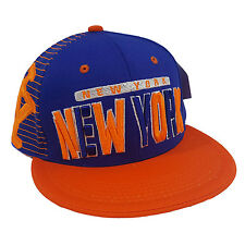 NEW YORK 3D EMBROIDERED FLAT BILL TWO TONE (ROYAL BLUE/ORANGE) COTTON SNAPBACK