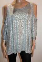 Sussan Brand Silver Scoop Neck Cold Shoulder 3/4 Sleeve Top Size XL BNWT #RD90