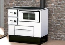 Stufa a Legna Cucina con Forno Acciaio 5,0-6,3 KW Piastra Portalegna Bianco