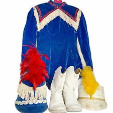 Vintage Majorette Costume Dance Sequin Baton Blue Red White Velvet Fringe 1950s