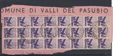 1945-48 DEMOCRATICA 50 CENTESIMI BLOCCO DA 25 SU FRAMMENTO USATO BELLO