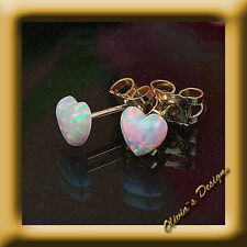 Solid 9 ct gold 375 Ear Studs with 5mm White Opal Heart