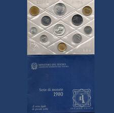 SET DIVISIONALE 10 MONETE CON 500 LIRE ARGENTO 1980 ITALIA FDC MEDAGLIA ZECCA