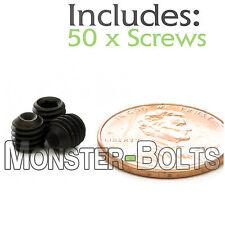 "#10-32 x 3/16"" - Qty 50 - Socket SET / GRUB SCREWS Cup Point - Black Alloy Steel"