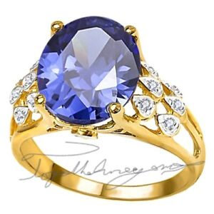 8 ct. PREMIUM  AAA TANZANITE & 14 FLAWLESS  DIAMOND TRIBAL GYPSY 14K YG PL S-8.