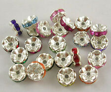 Spacer Beads Rhinestone Spacers Acrylic Assorted Colors Silver 7mm 20 pieces