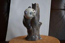 Royal Copenhagen Panda Playing Climbing Tree Trunk 664 Black Porcelain Figurine