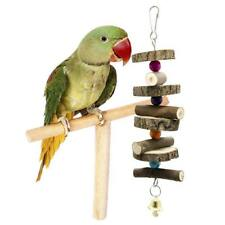 Wooden String Bell Toys for Pet Birds Parrots Play Bite Hanging Cage Accessories