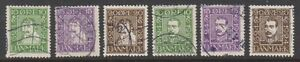 Denmark - 1924, Ann. of Danish Post set - Head Facing Left - Used - SG 218A/223A