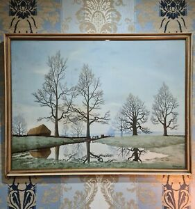 Tristram Hillier Flooded Meadow Vintage 1956 Frost Reed Reproduction Lithograph