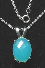 HSN Chrysoprase Gemstone Pendant w/Chain 925 Sterling