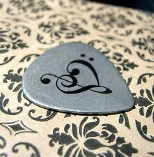 Steel Music Heart Guitar Pick, metal clef musician jewelry gift anniversary love