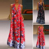 UK Womens Summer Sleeveless V Neck Floral Printed Holiday Beach Long Maxi Dress