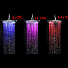 7 Colors Auto Changing LED Shower Square Head Light Water Bathroom Rain Top liau