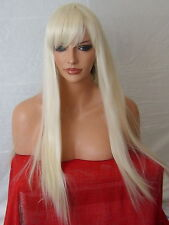 Light Blonde Fashion long straight costume Halloween Women Real Natural Wig N5